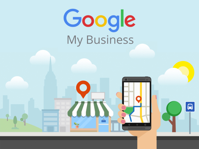 Hand holding a mobile phone with google maps app, a small shop in the background with a geotag sign on top - Google My Business for local business small business local SEO blog article - CreMedia Global Marketing Agency - Broceni Saldus Riga Latvia Baltic European Union EU Region - Heliopolis Cairo Egypt Alexandria Middle East North Africa MENA Region
